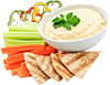 Carrot sticks, capsicum sticks hommus and Lebanese bread